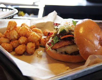 Burger and Tater Tots Fharmacy - Get em Cheesy!